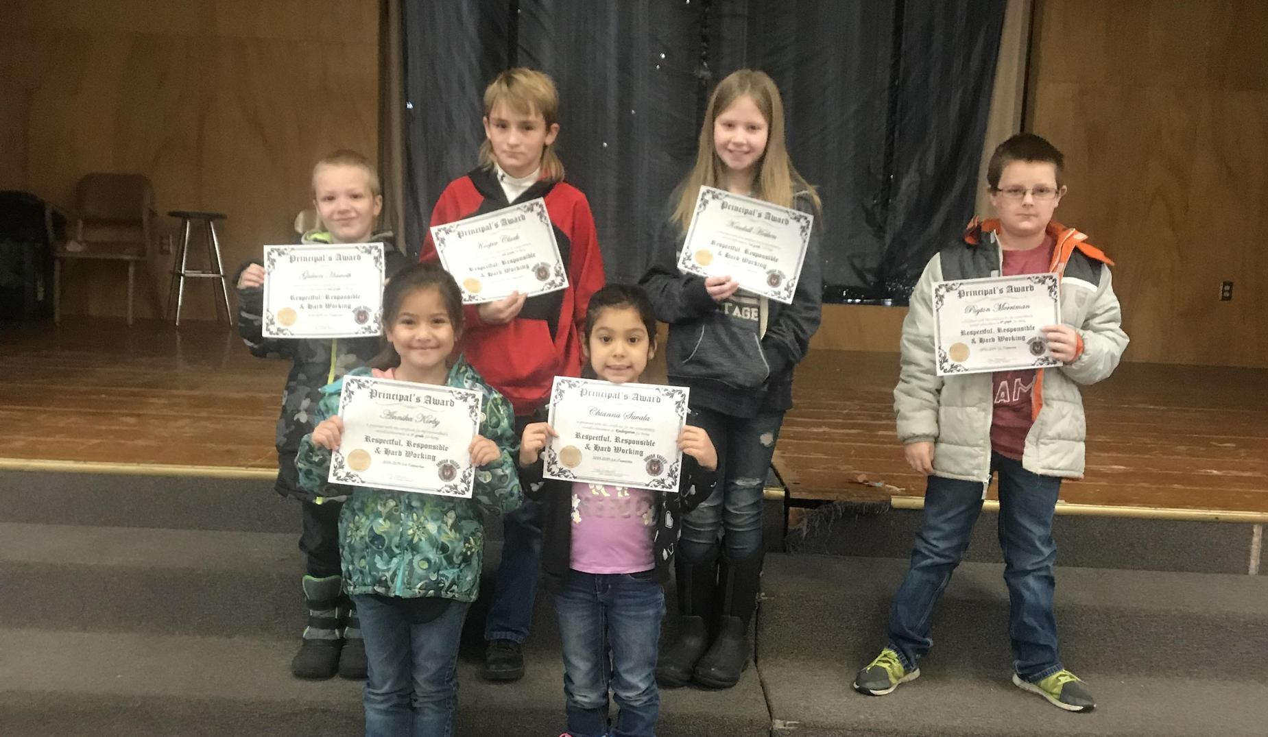 1st Trimester Principal's Award for Being Respectful, Responsible, and Hard-Working