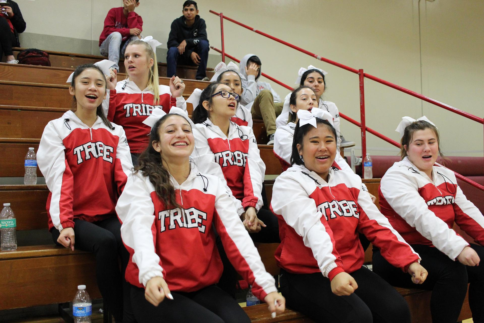 Varsity cheer at Orange Cove basketball game