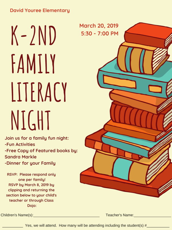 K-2 Family Literacy Night form