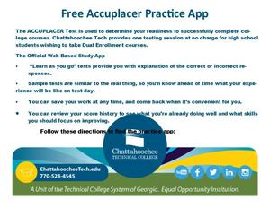 Students gaining more info for taking the Accuplacer