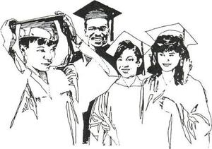 Art Clip of Seniors in Caps and Gowns