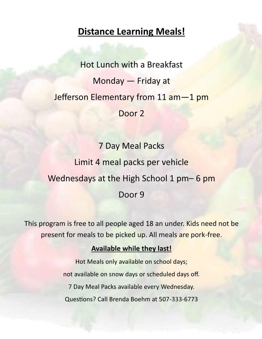 Distance Learning Meals Update Information