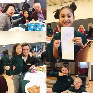 Collage of pictures of students with their parent in the lunch room.
