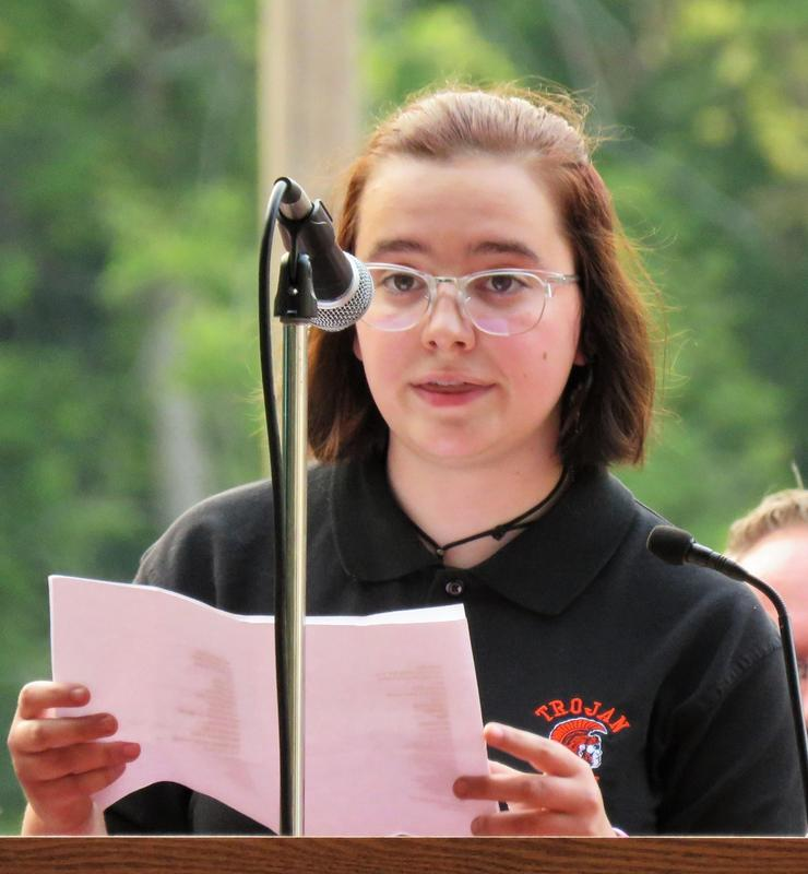 TKHS student Ana Saba speaks to the crowd gathered at the community 9-11 ceremony.