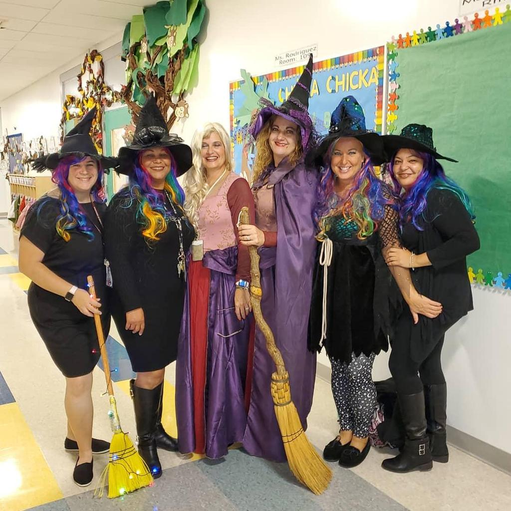 Hudson Teachers and Admin dressed as witches