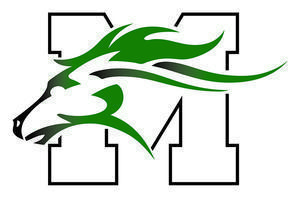 Mainland Regional High School's logo of a Mustang head in from of an 'M'