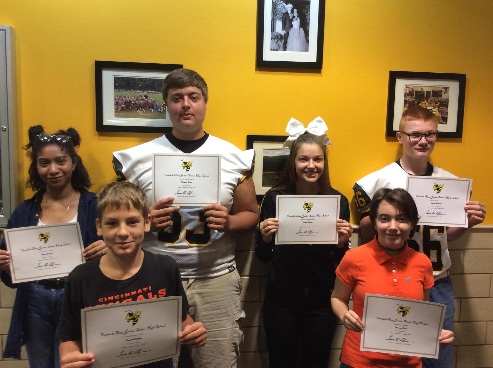 October Students of the Month 2018