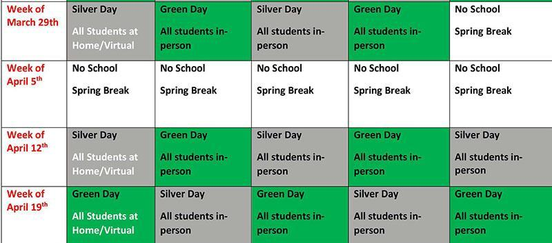 Green and Silver Schedule