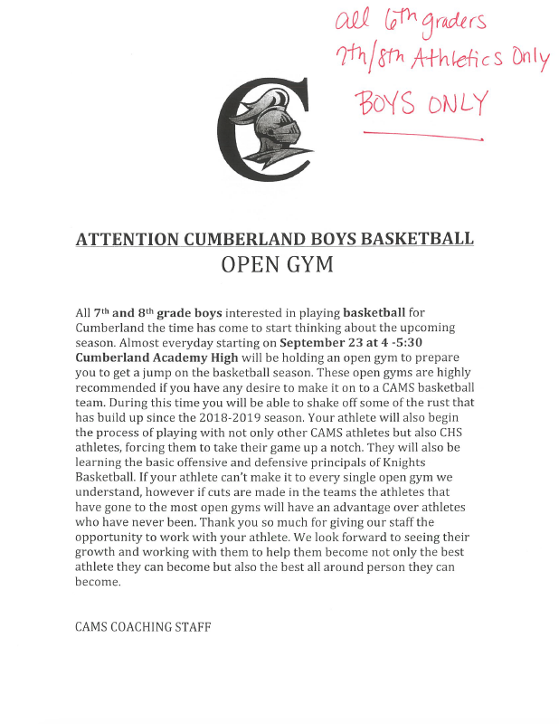 7th & 8th Boys Only - Basketball Open Gym Letter Featured Photo