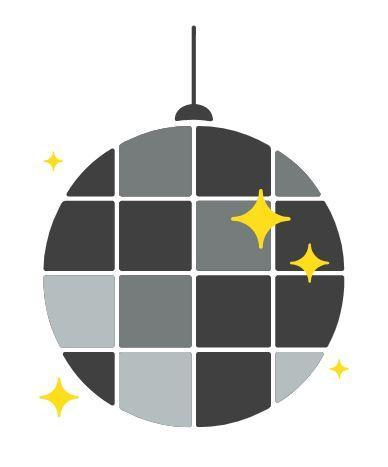 Grey and black disco ball with gold stars