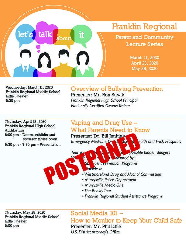 Lecture Series Postponement flyer