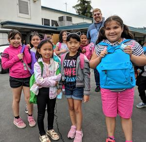 Vineland Elementary students in transitional kindergarten through fourth grade receive more than 400 backpacks filled with school supplies on Aug. 23 during Baby2Baby's backpack giveaway.