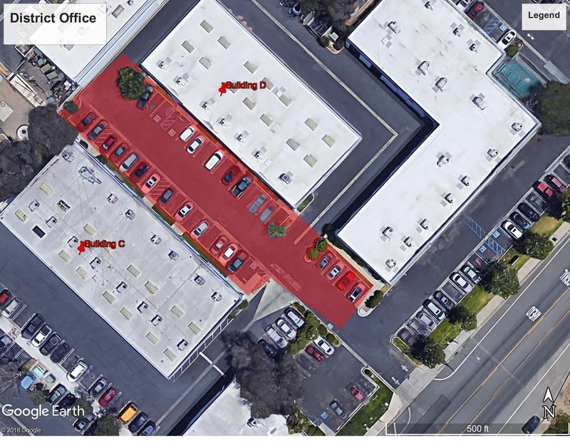 Aerial view of restricted parking areas between LEUSD building C and D at the District Office on Chaney Street June 24 through June 28.