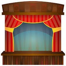 a stage and curtains