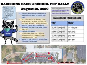 Raccoons Back 2 School Pep Rally Flyer
