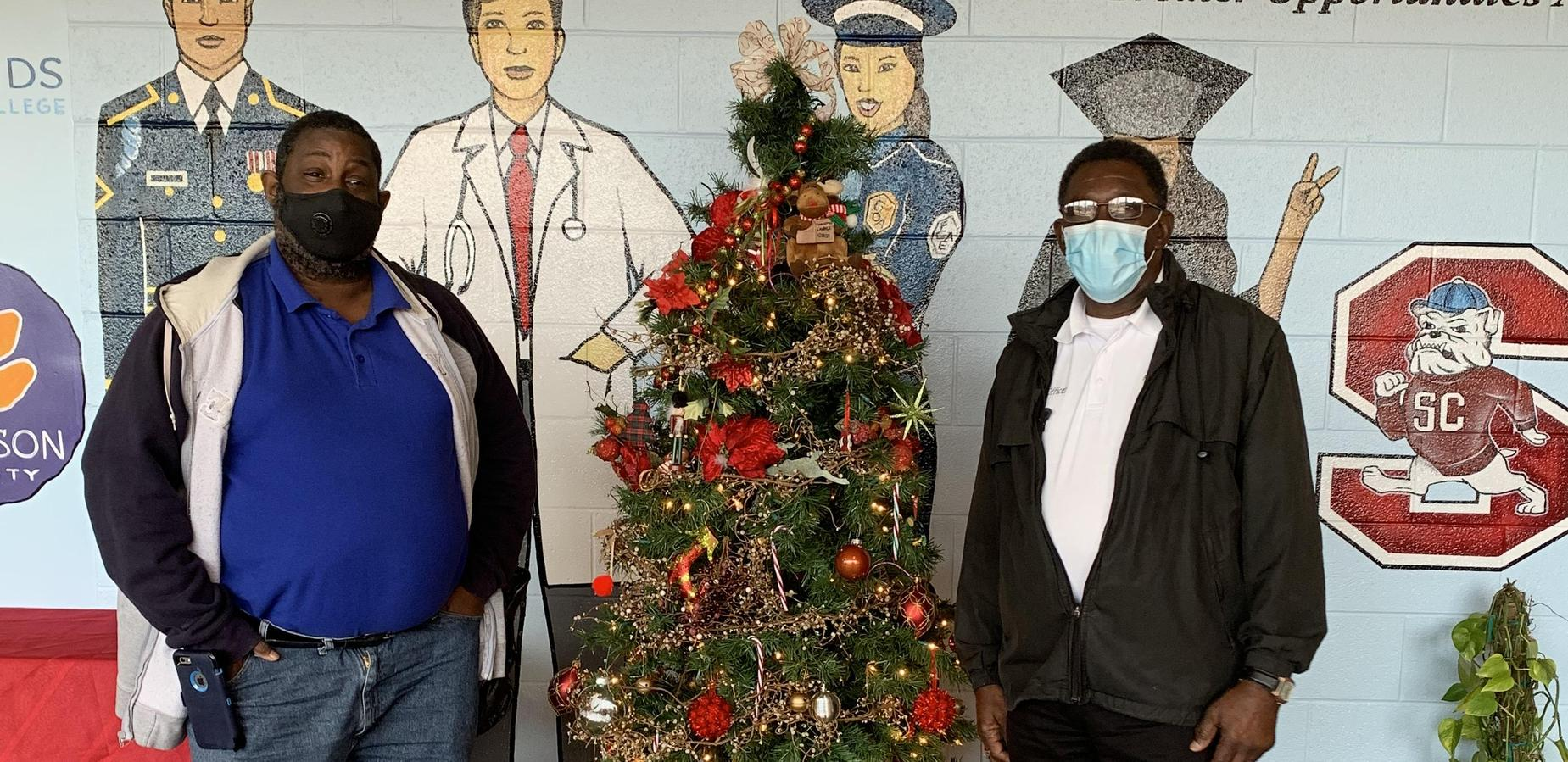 Mr. Carter and Mr. White spreading Christmas cheer!