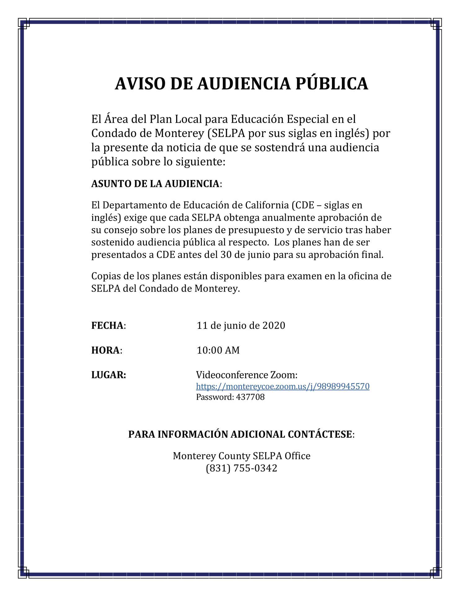 Spanish SELPA Public Hearing