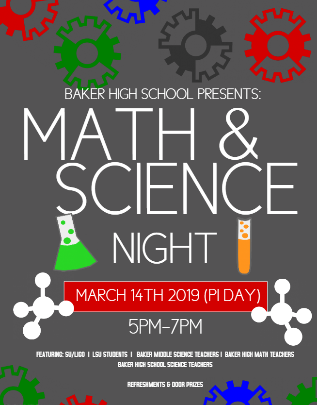 a photo of a flyer advertising the 2019 math & science night at Baker High School