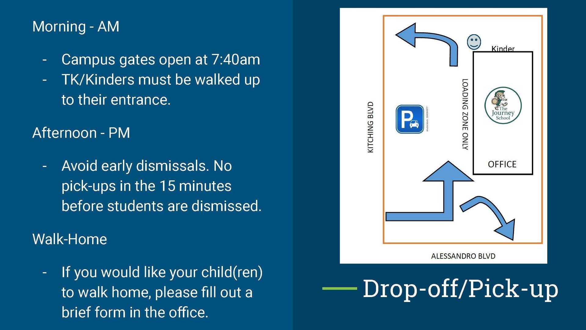 Drop off and pick up map