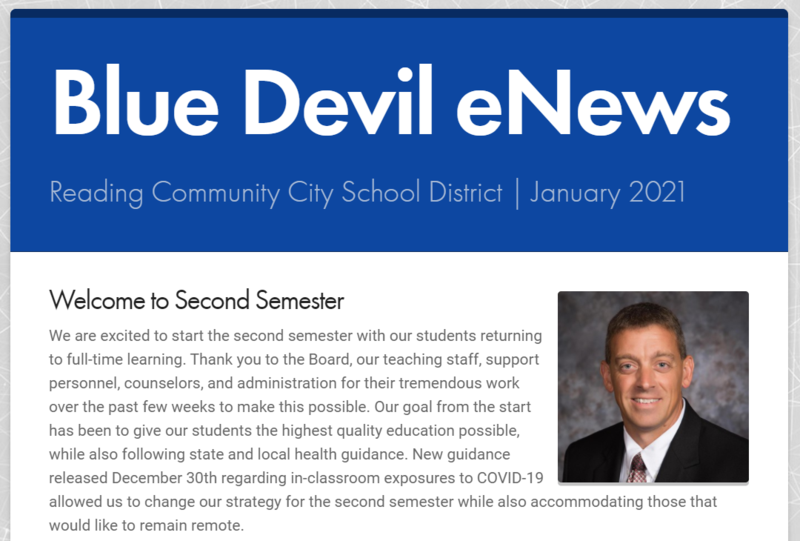Front Page of the Blue Devil eNews
