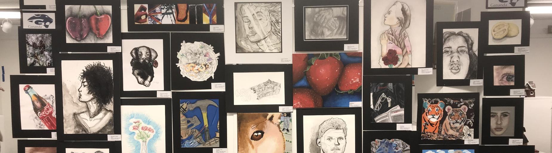 student's artwork on display