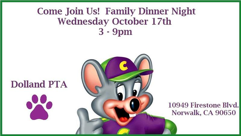 Dolland PTA -Chucky Cheese Family Fundraising Dinner Night Featured Photo