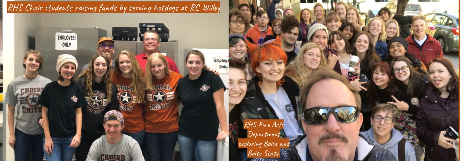 RHS Choir Students  serving hotdogs and Fine Arts Department exploring Boise