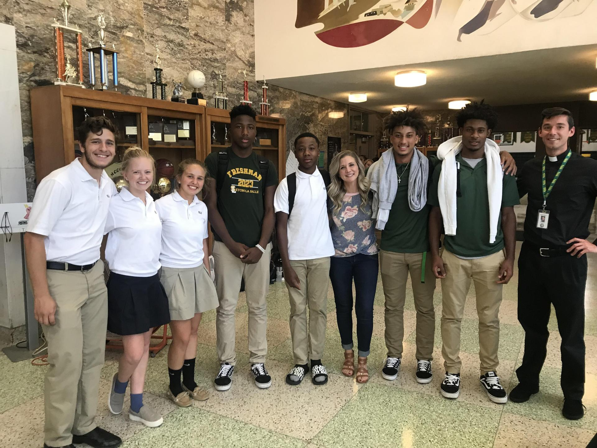 Students and Fr. Thomas Gramc with Sarah Swafford, renowned Catholic speaker and author