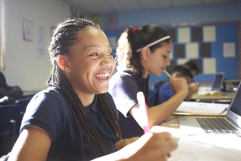 KIPP students laughing during lesson