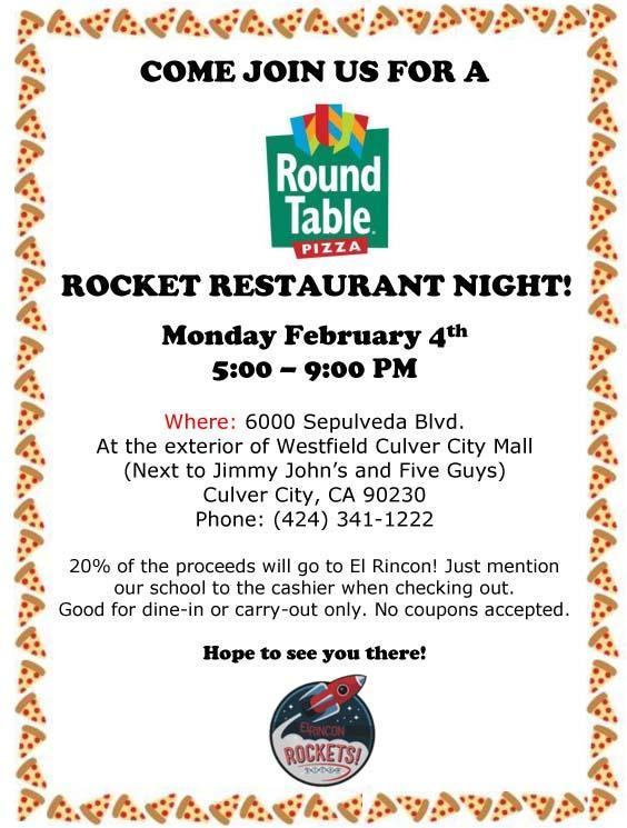 Rocket Family Restaurant Night at Round Table Featured Photo