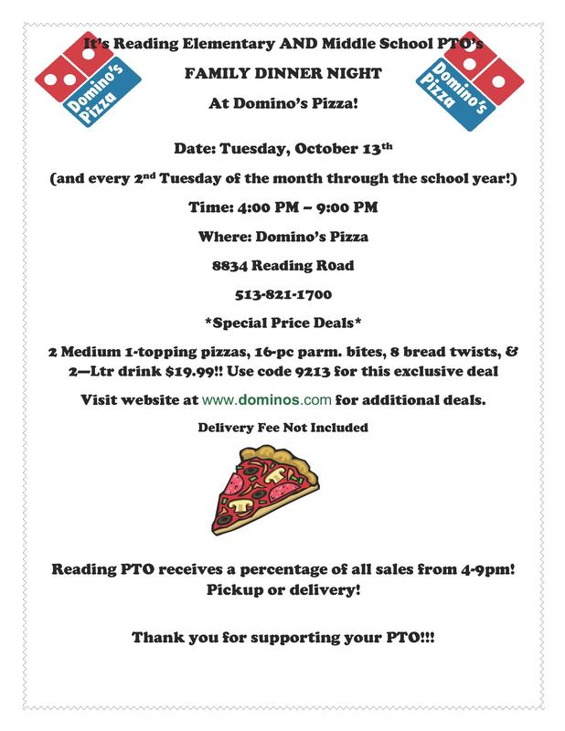 RMS & RES 1st DOMINO FAMILY DINNER NIGHT-- Tuesday, October 13th! Featured Photo