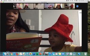 Elisha's mom reading on zoom