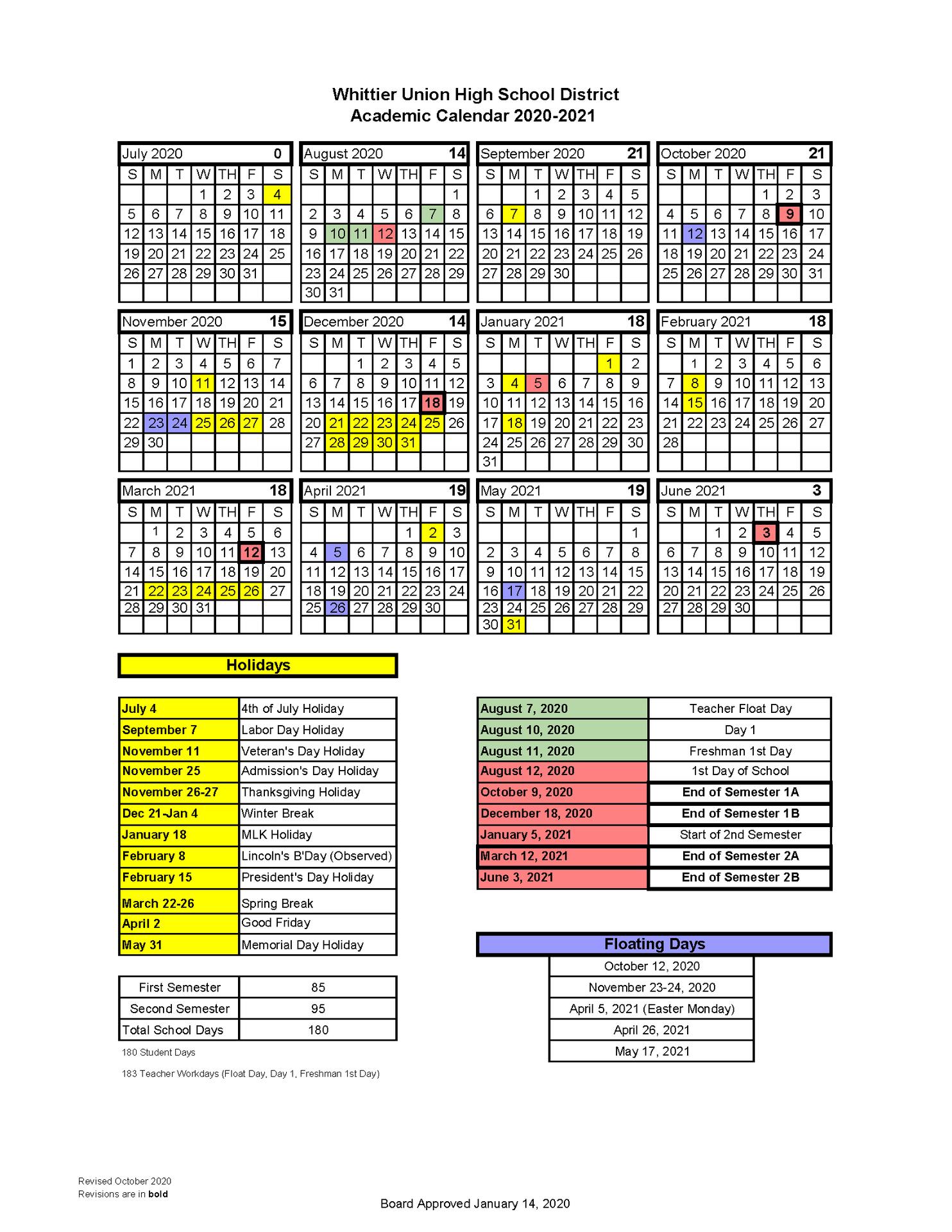 Revised 2020-21 Academic Calendar