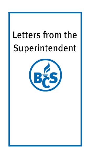 letters from the superintendent with the district logo
