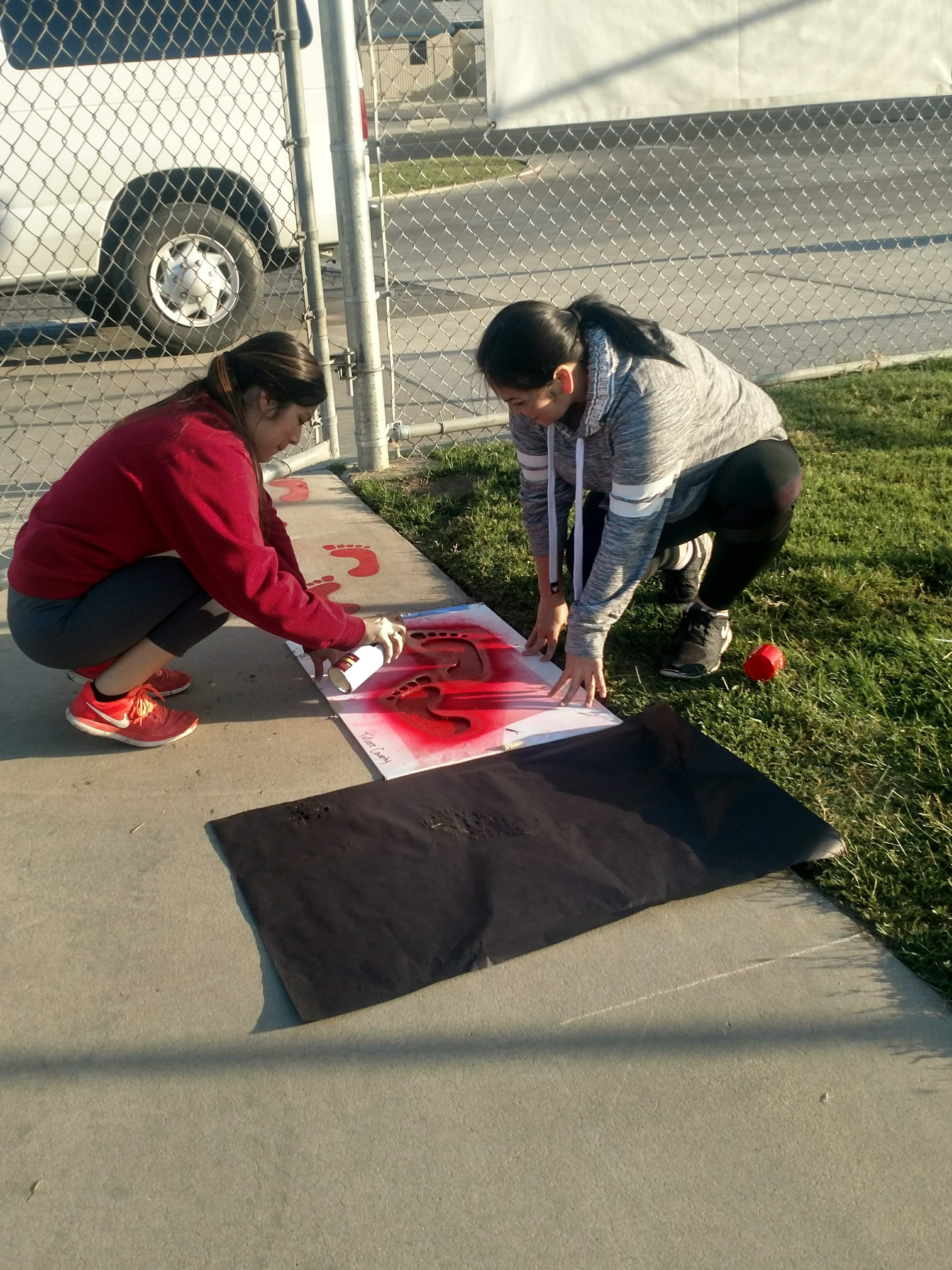 Volunteers for the stencil project.