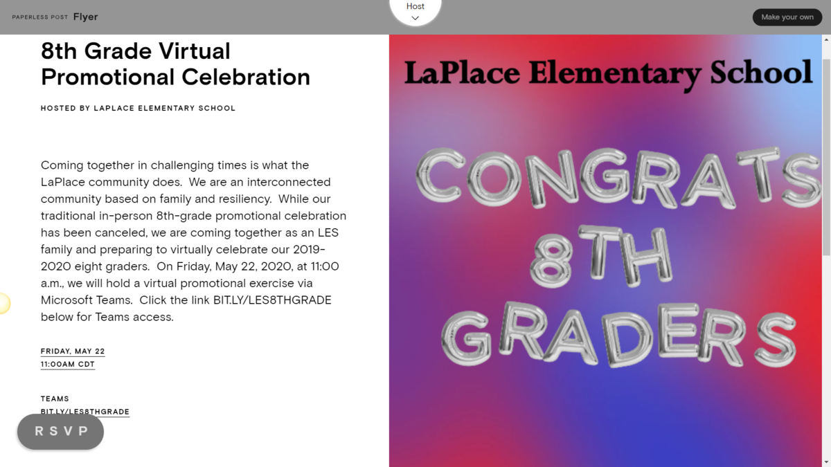 8th Grade Virtual Promotional Celebration