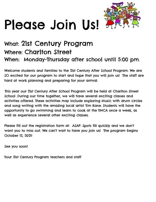 Flyer in English for 21st Century After School Program at Charlton Street School. All wording is also in the body of the post.