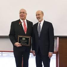 2019 PA Superintendent of the Year Award picture featuring Dr. Piraino and PA Governor Tom Wolf