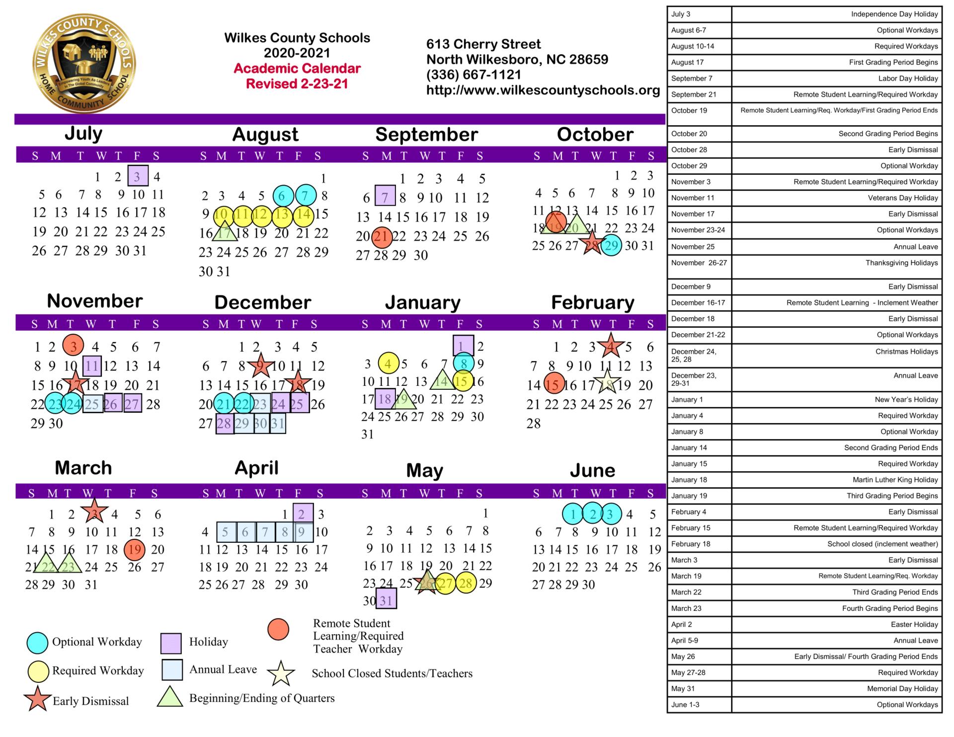 Nc Court Calendar 2022.District Calendars District Wilkes County Schools