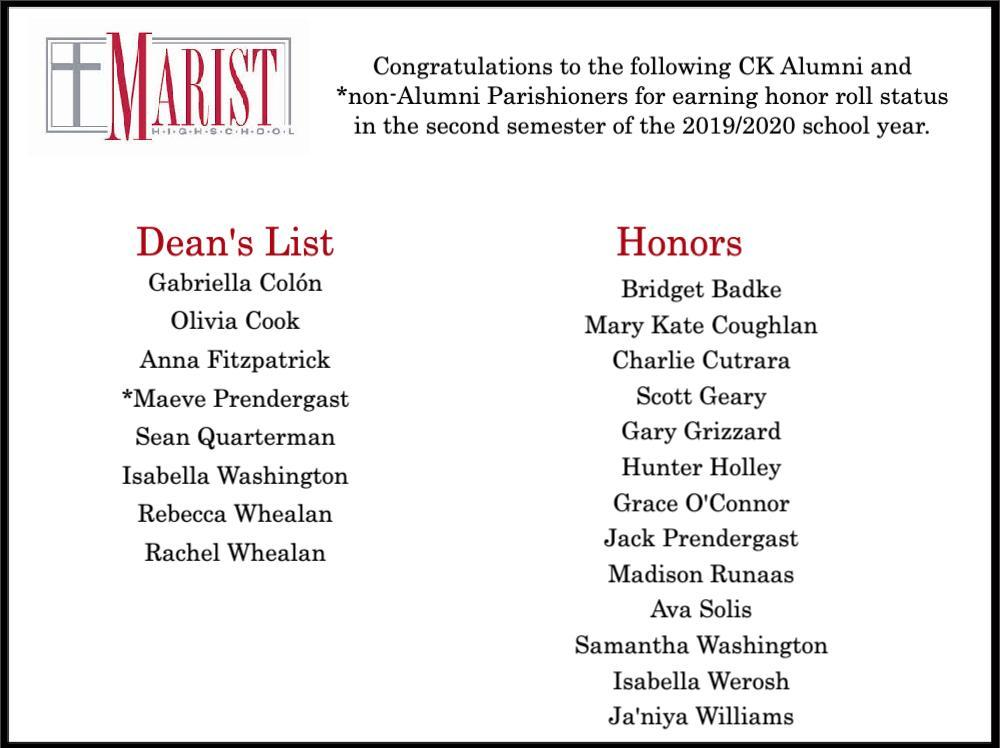 Marist Honors Second Semester 2019.20