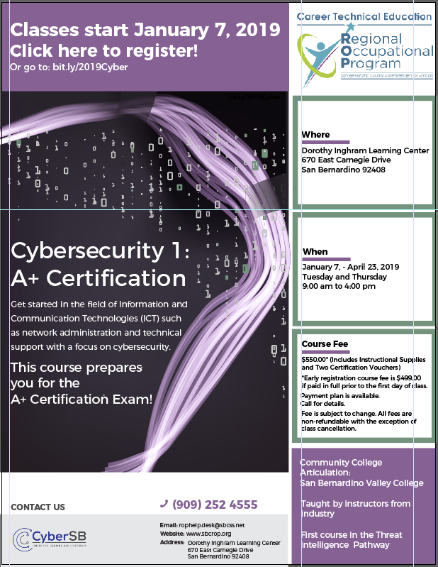 Cybersecurity 1: A+ Certification classes start January 7, 2019 Thumbnail Image