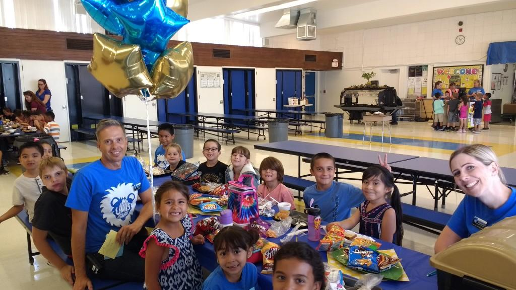 Second Grade winners of Lunch with the Principal with Mrs. Grant, AP and Mr. Broecker, Principal