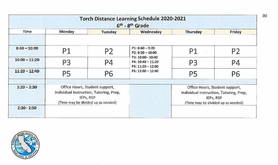 Distance Learning Schedule 2020-2021