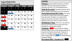 Week of August 10th NSMS Schedule, Week of August 17th Regular Schedule, Week of August 24th Regular Schedule, Week of August 31st Regular Schedule, Week of September 7th NSMS Schedule LEGEND: Grab & Go Lunch: Qualified Students will be able to obtain a grab & go lunch from Cafeteria. Period 8/Learning Flex Time: This time is set aside for students who need extra support and instruction. Students can contact their teacher/counselor. Period 8 is also when all Athletic Classes will meet for online sessions. W/Advisory Time: This time is set aside for daily announcements and to have short time available for relationship building.