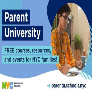 parent university flyer with image of woman taking notes in front of computer screen