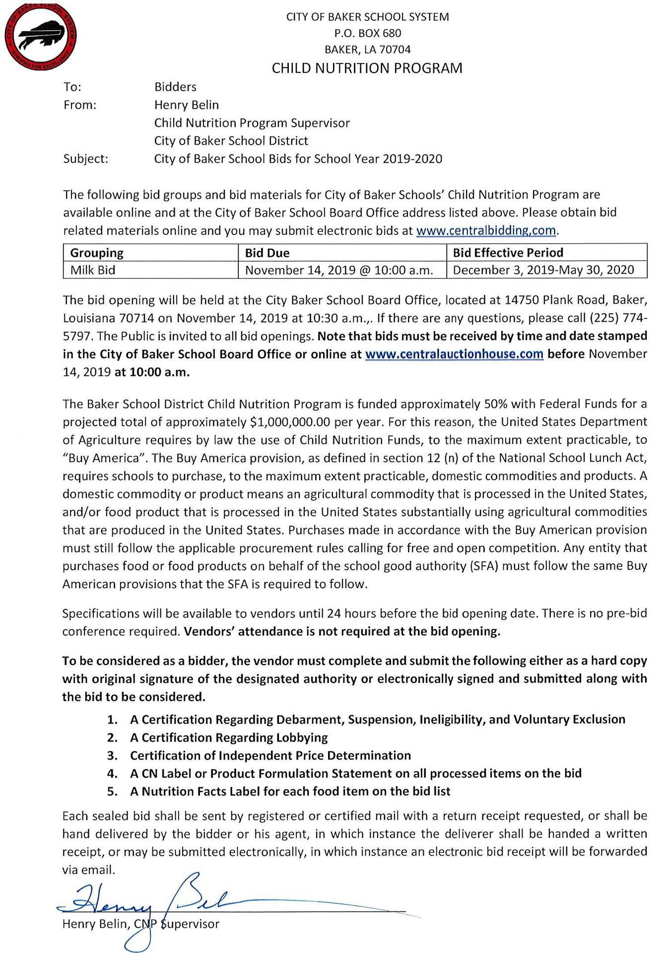 copy of letter to bidders for milk