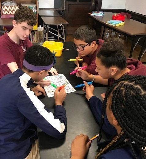 Students collaborating on a class assignment.