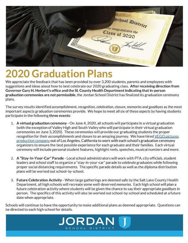 JSD Graduation Information 2020