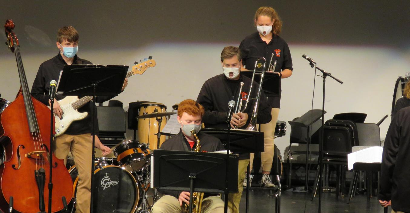 TKHS Jazz band members perform at their fall concert.