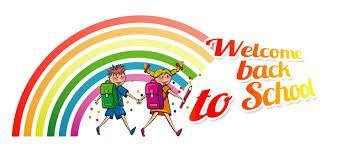clip art with rainbow that says Welcome Back